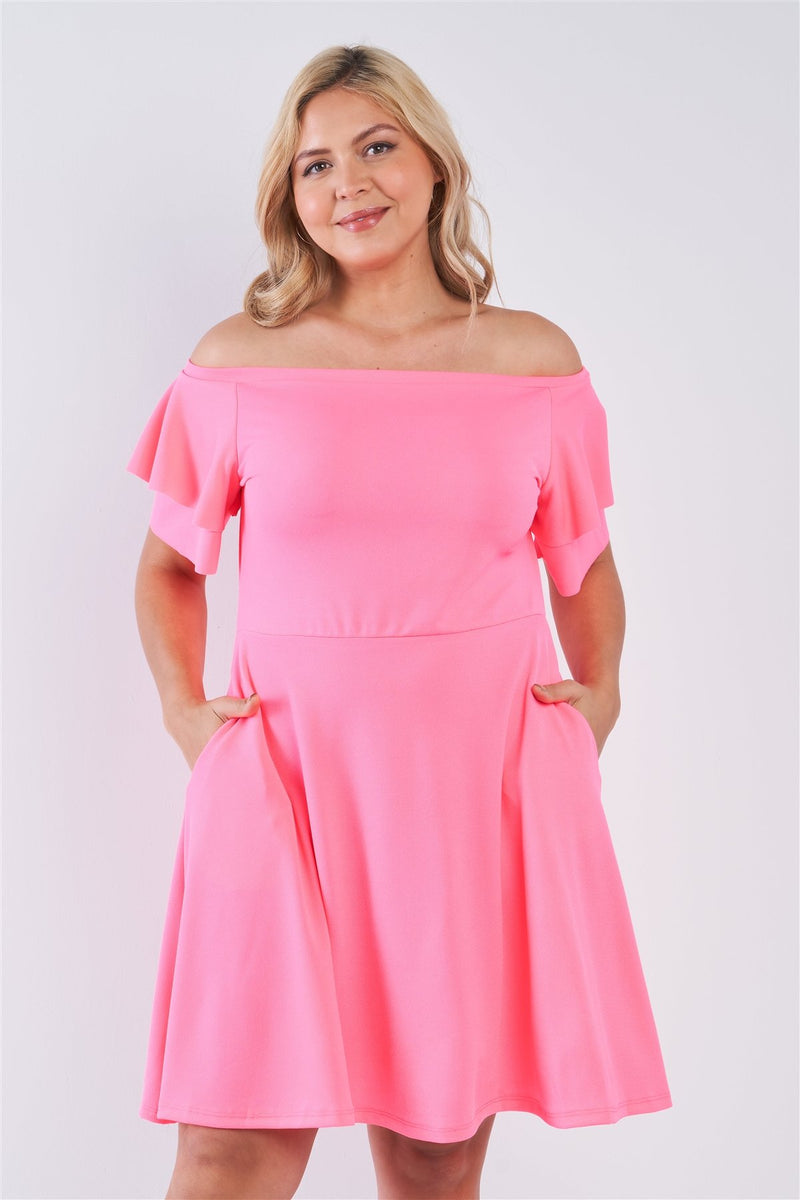 Neon Pink / 1XL Off The Shoulder Tiered Midi Dress