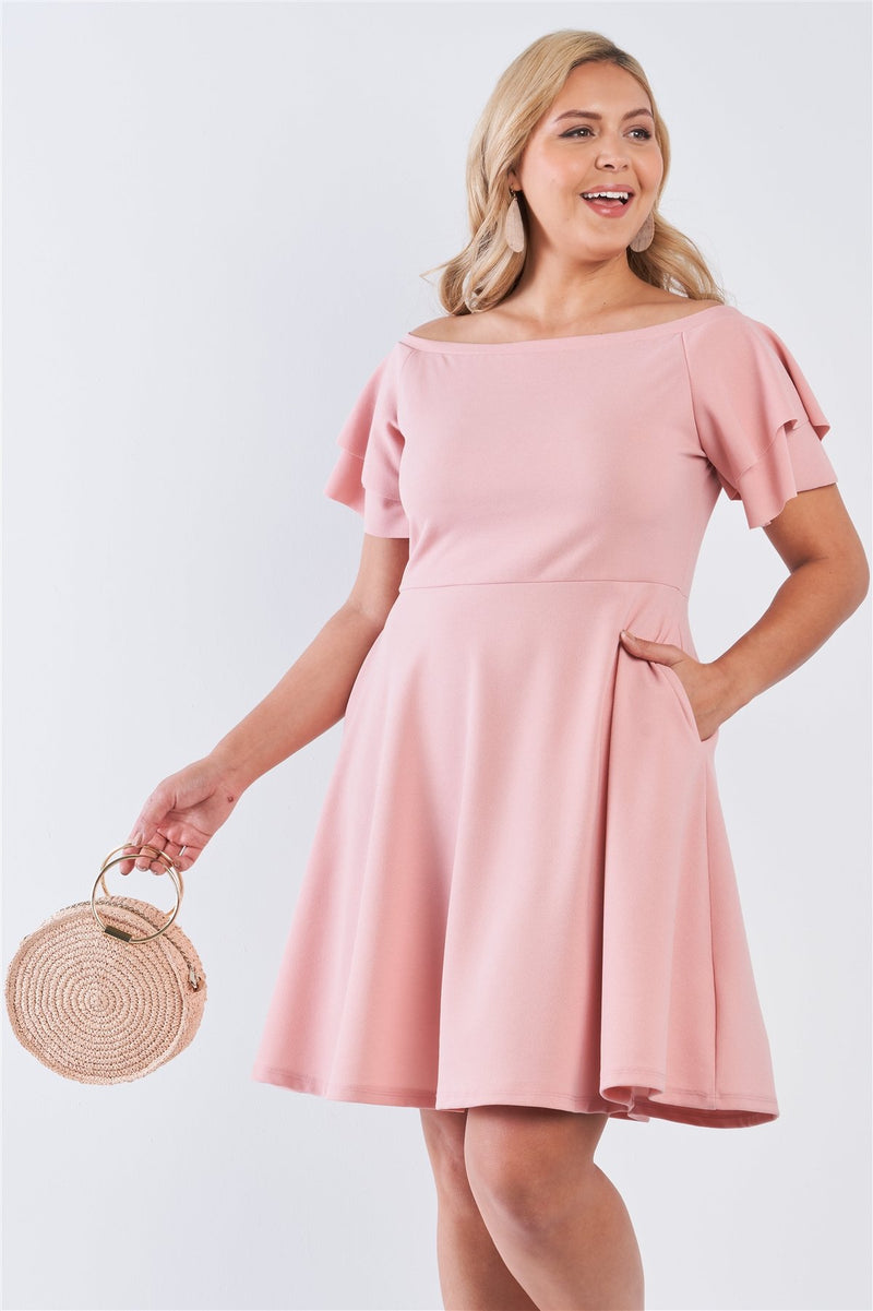 Pink / 1XL Off The Shoulder Tiered Midi Dress