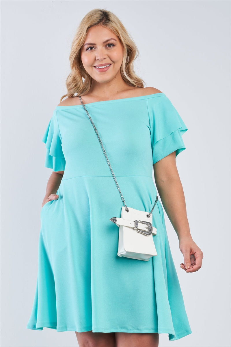 Turquoise / 1XL Off The Shoulder Tiered Midi Dress