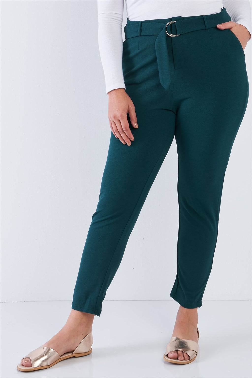 Hunter Green / 1XL Plus Size High Waisted Ankle Length Pants