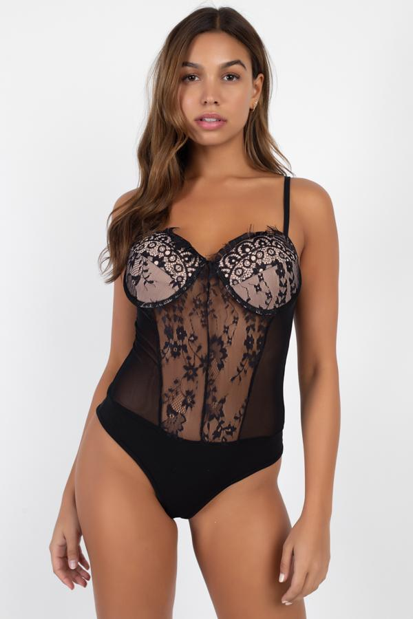 Black/Nude / S Sheer Mesh Lace Teddy