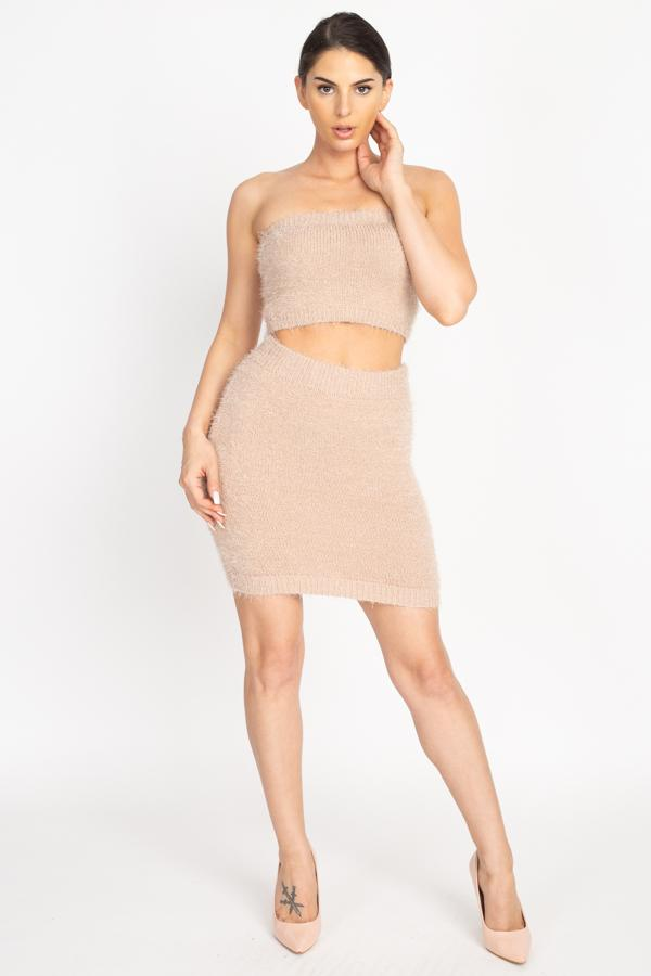 Fuzzy Tube Top & Mini Skirt Set