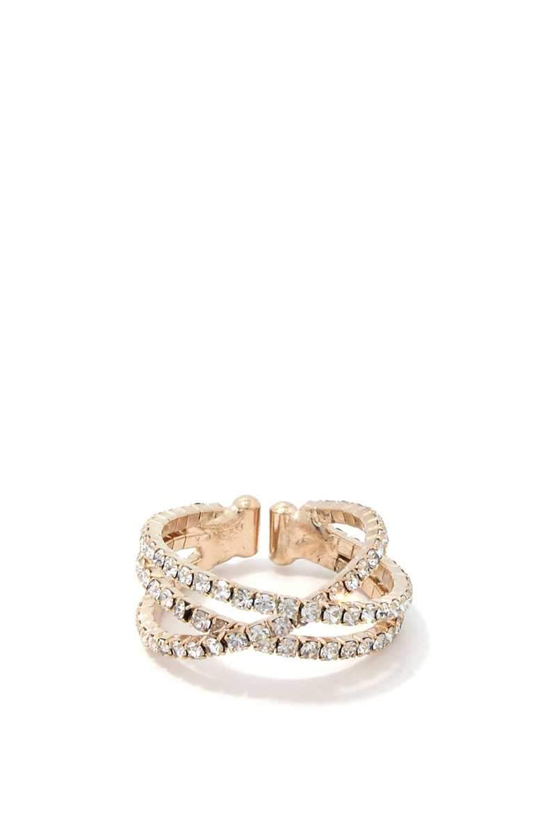 Gold Loop Rhinestone Ring