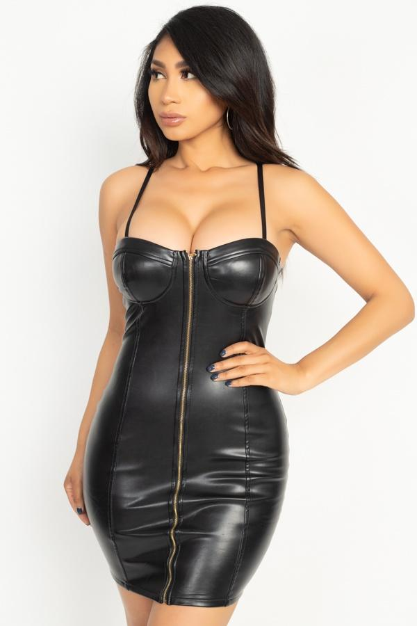 Black / S Front Zip Latex Dress