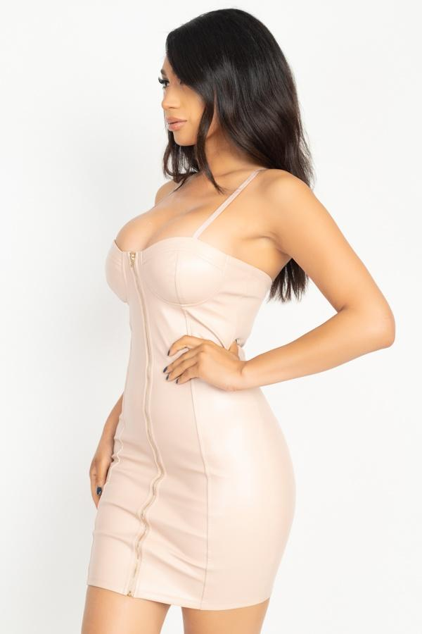 Front Zip Latex Dress