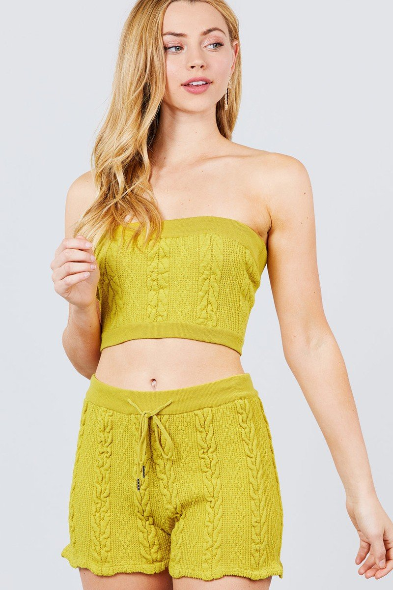 Lime Mustard / S Cablé Sweater Top And Sweater Shorts Set