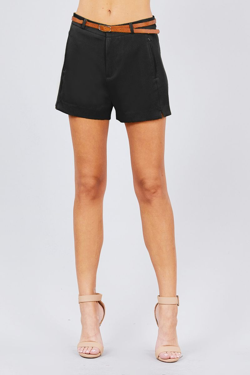 Front Slit Hem W/pocket And Belt Short Pants