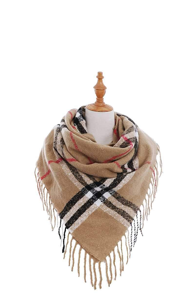 Tan Modern Check Square Scarf With Fringe