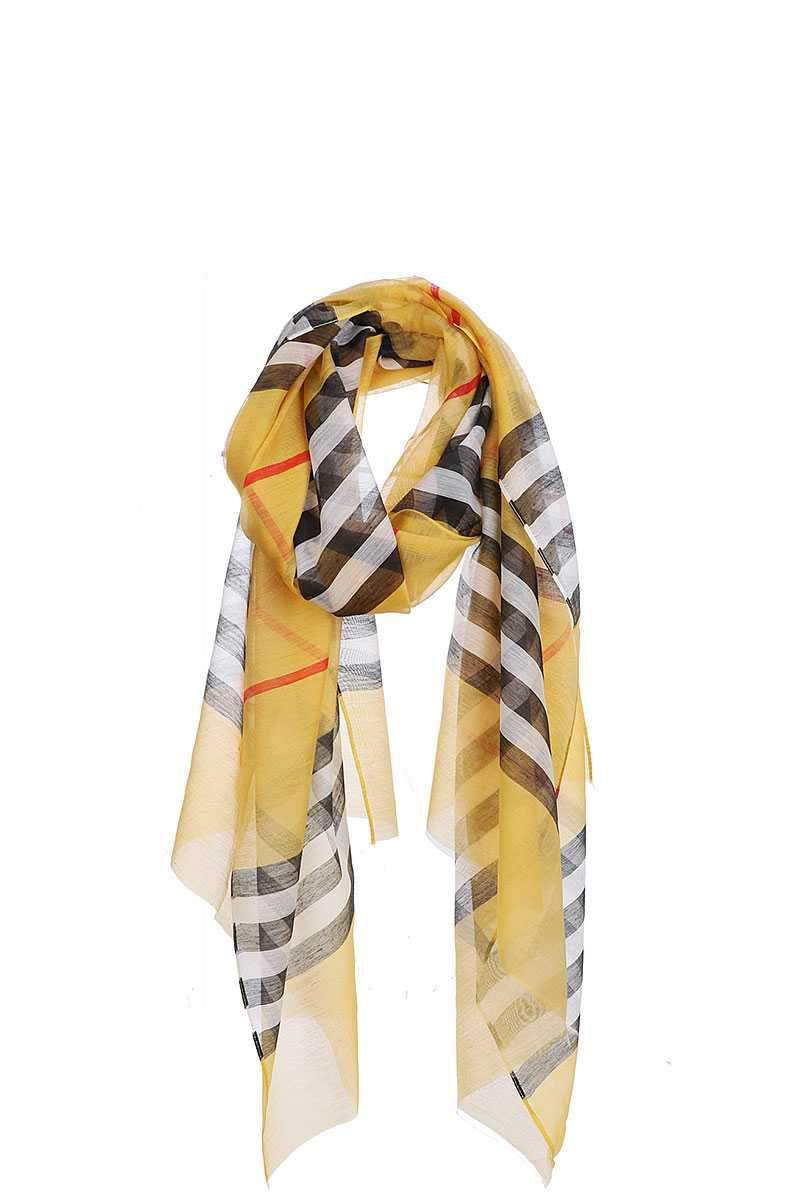 Mustard Striped Sheer Scarf
