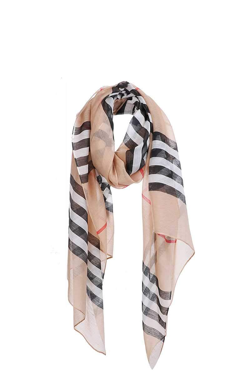 Beige Striped Sheer Scarf