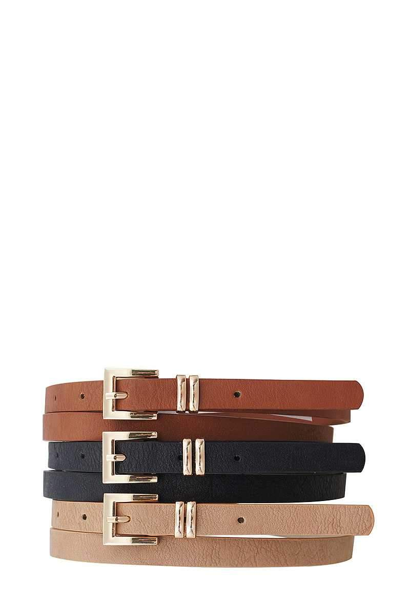 Black/Taupe/Cognac 3 Pc+u2:u130s. Stylish Angled Buckle Skinny Belts