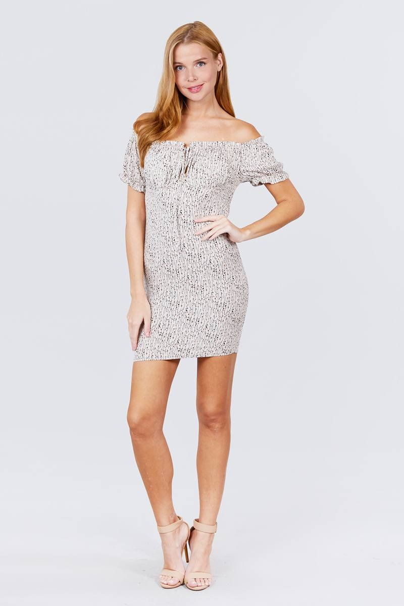 Short Sleeve Off The Shoulder All Over Smocked Print Woven Mini Dress