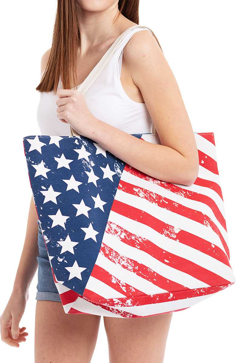 Fashion American Flag Print Canvas Shopper Bag