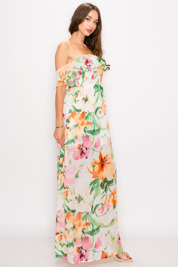 Floral Print Ruffled Off Shoulder Maxi Dress