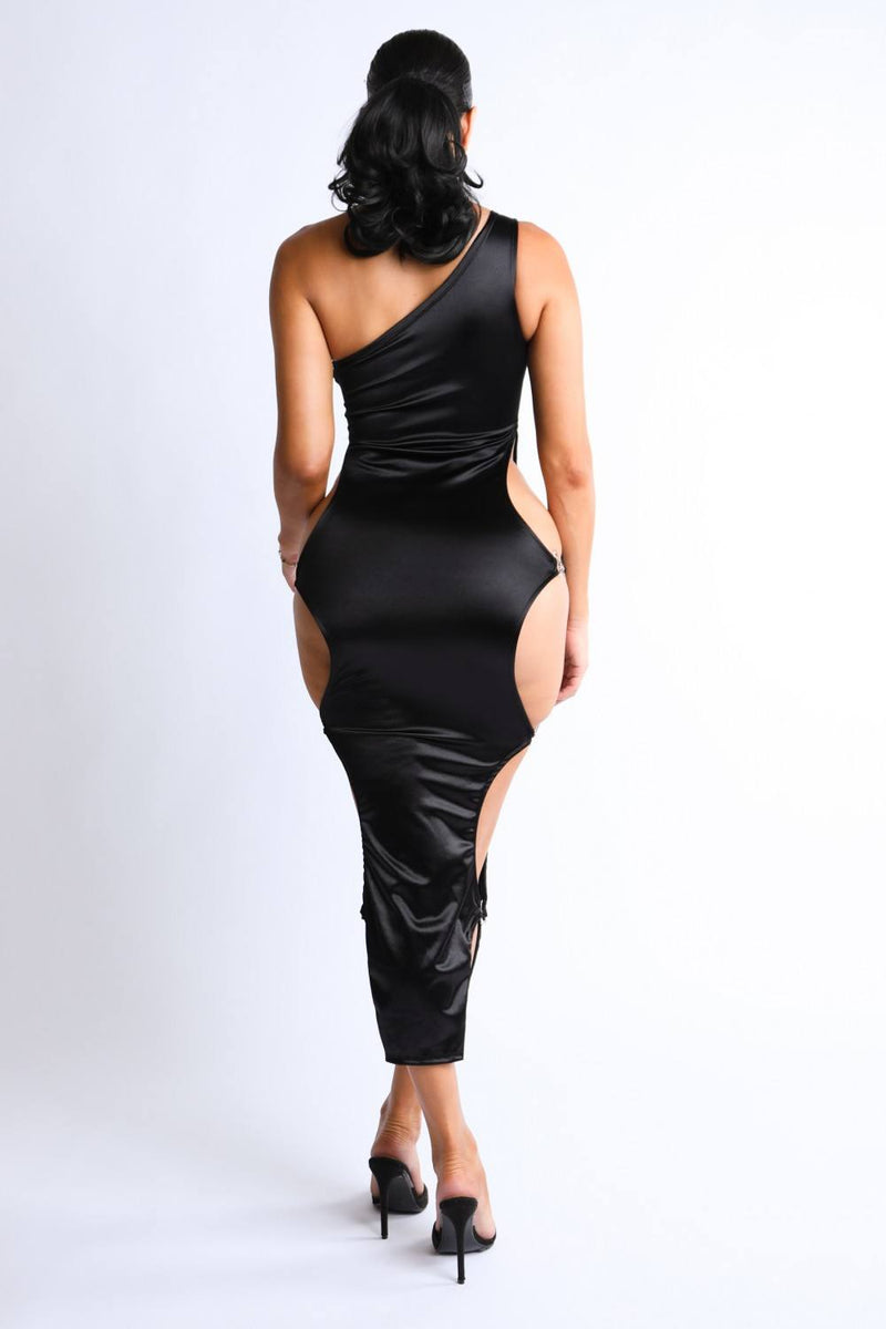 Side Satin Maxi Dress