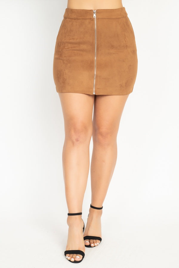 Suede Front Zip Skirt