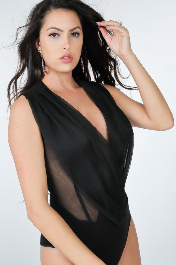 Pleated Overlap Front Plus Size Bodysuit