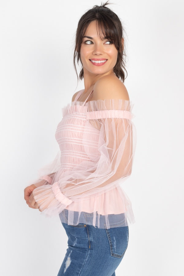 Sheer Mesh Open Shoulder Top
