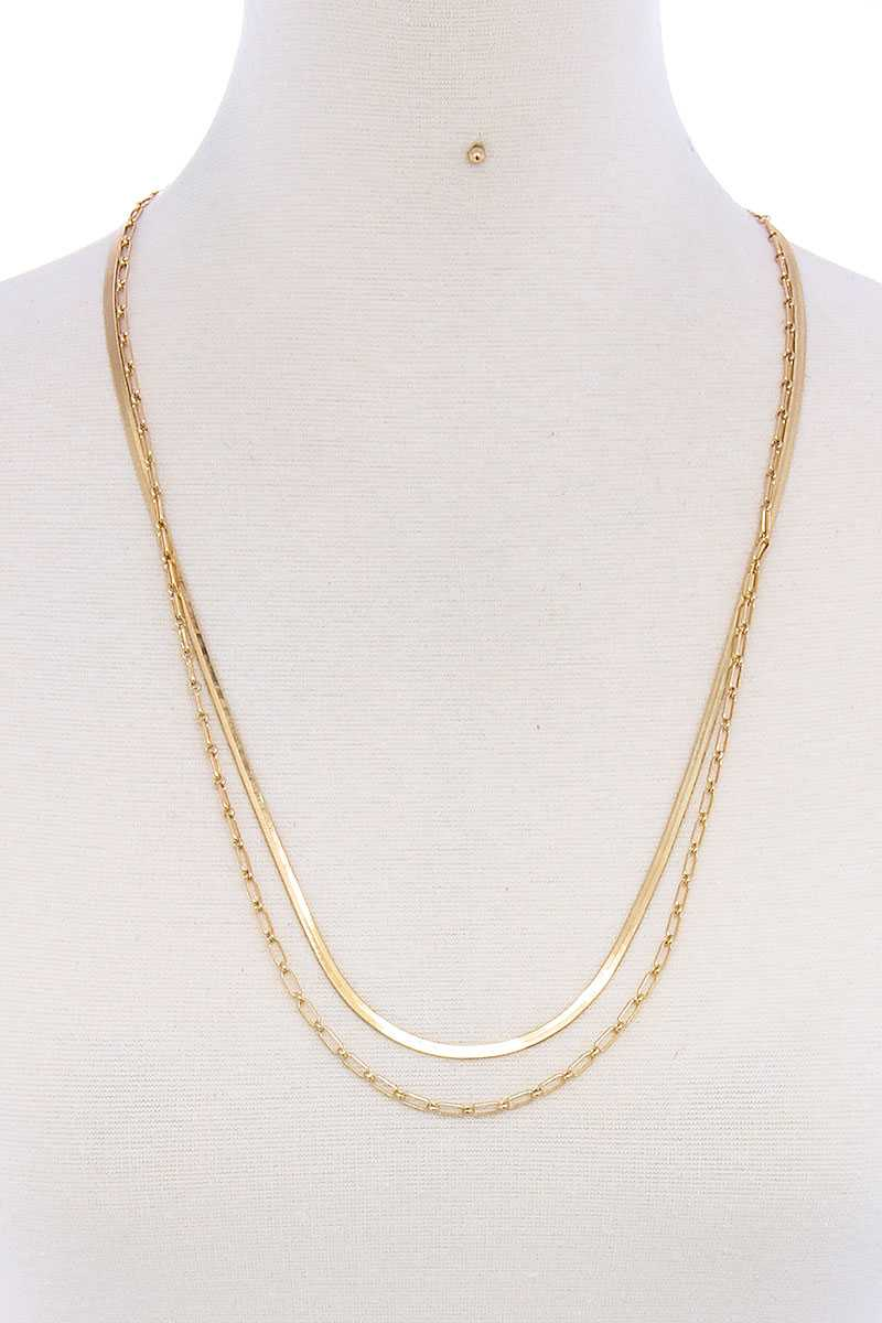 Double Layer Stylish Chain Necklace And Earring Set