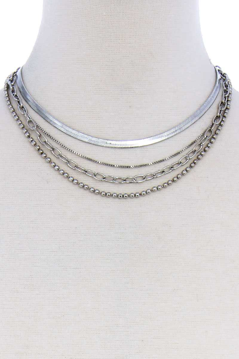 4 Layers Multi Chain Necklace Choker