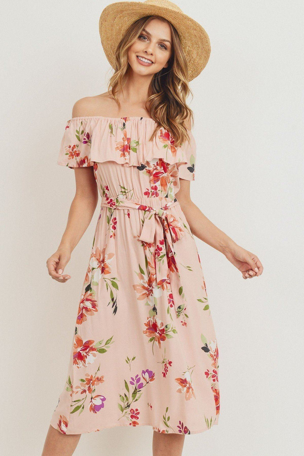 Off  Shoulder Waist Belt Printed Midi Dress