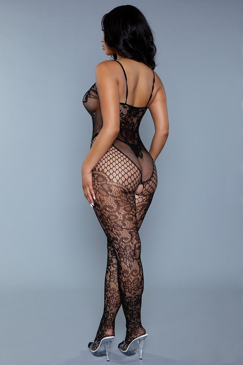 Dual Net Crotchless Bodystocking With Lace Floral Detail