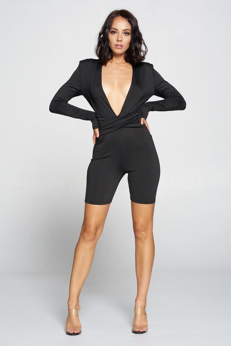 Deep V Neck Jumpsuit