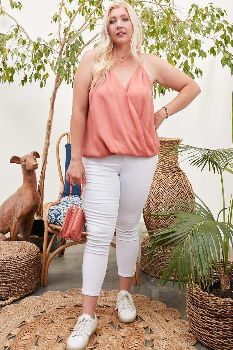 Front Surplice Pleats Back Shirring Solid Cami Top