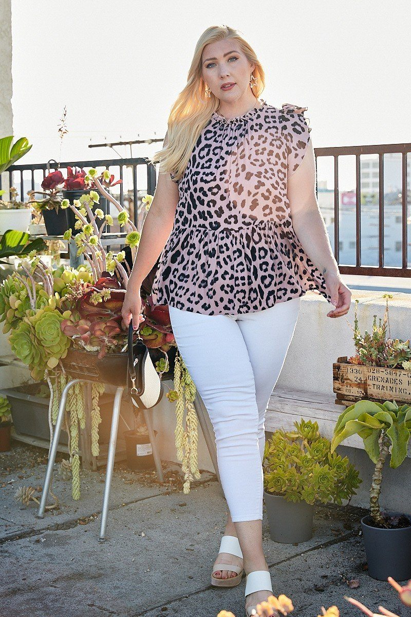 Plus Size Round Neck Back Button Leopard Print Top