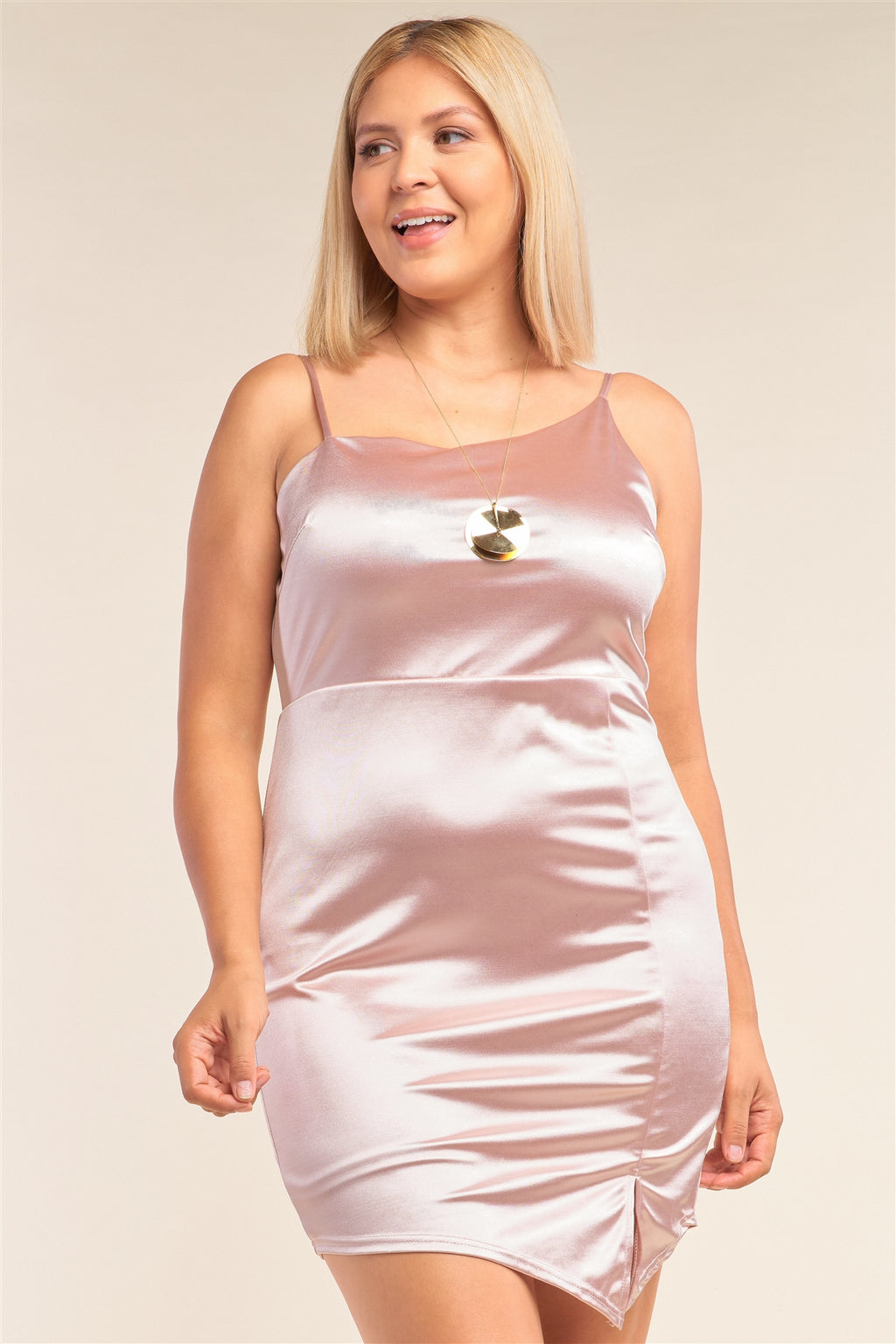 Plus Size Satin Asymmetrical Sleeveless Fitted Side Slit Detail Cocktail Mini Dress