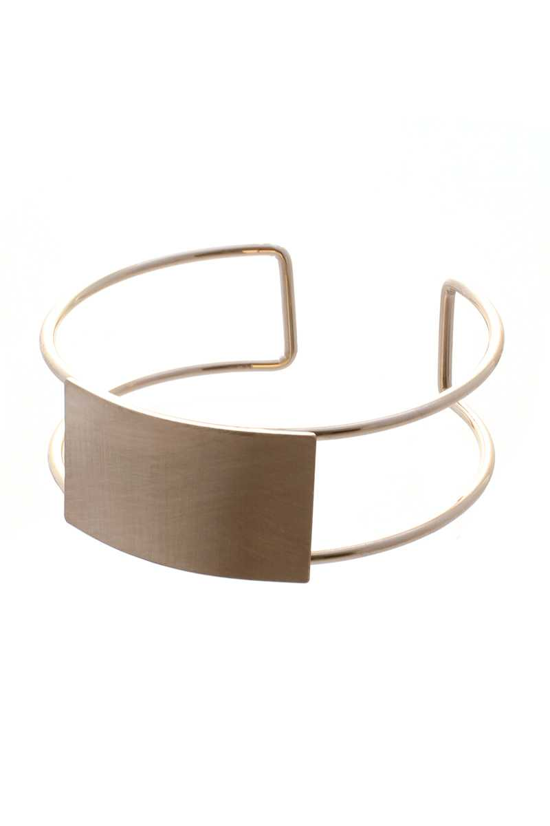 Metal Rectangle Open Bangle Bracelet