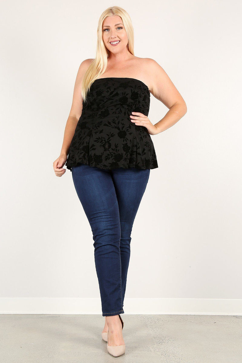 Plus Size Floral Mesh Flocking Tube Top With Flare Bodice
