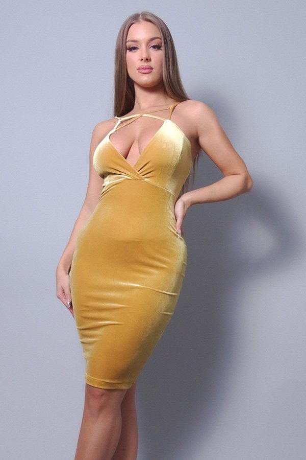 Sexy Spaghetti Strap Crossover Front Velvet Bodycon Dress