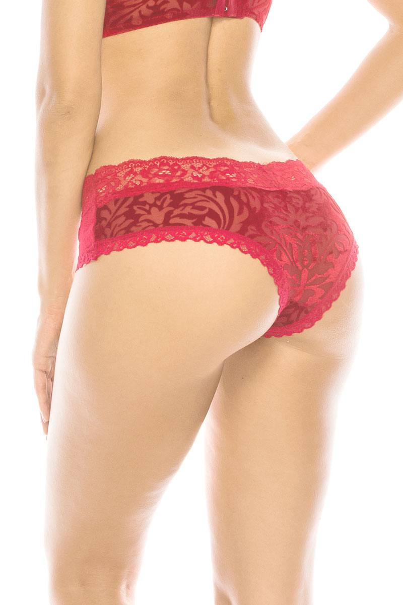 Floral Pattern Velvet Hipster  With Lace Trim