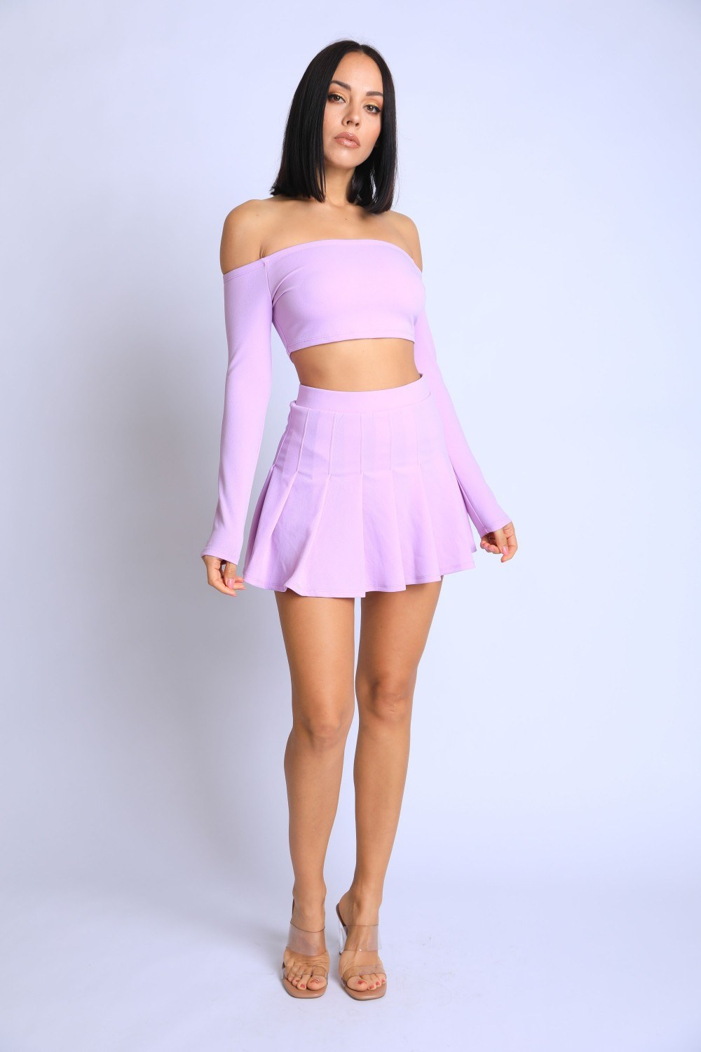 Off Shoulder, Skater Skirt Set