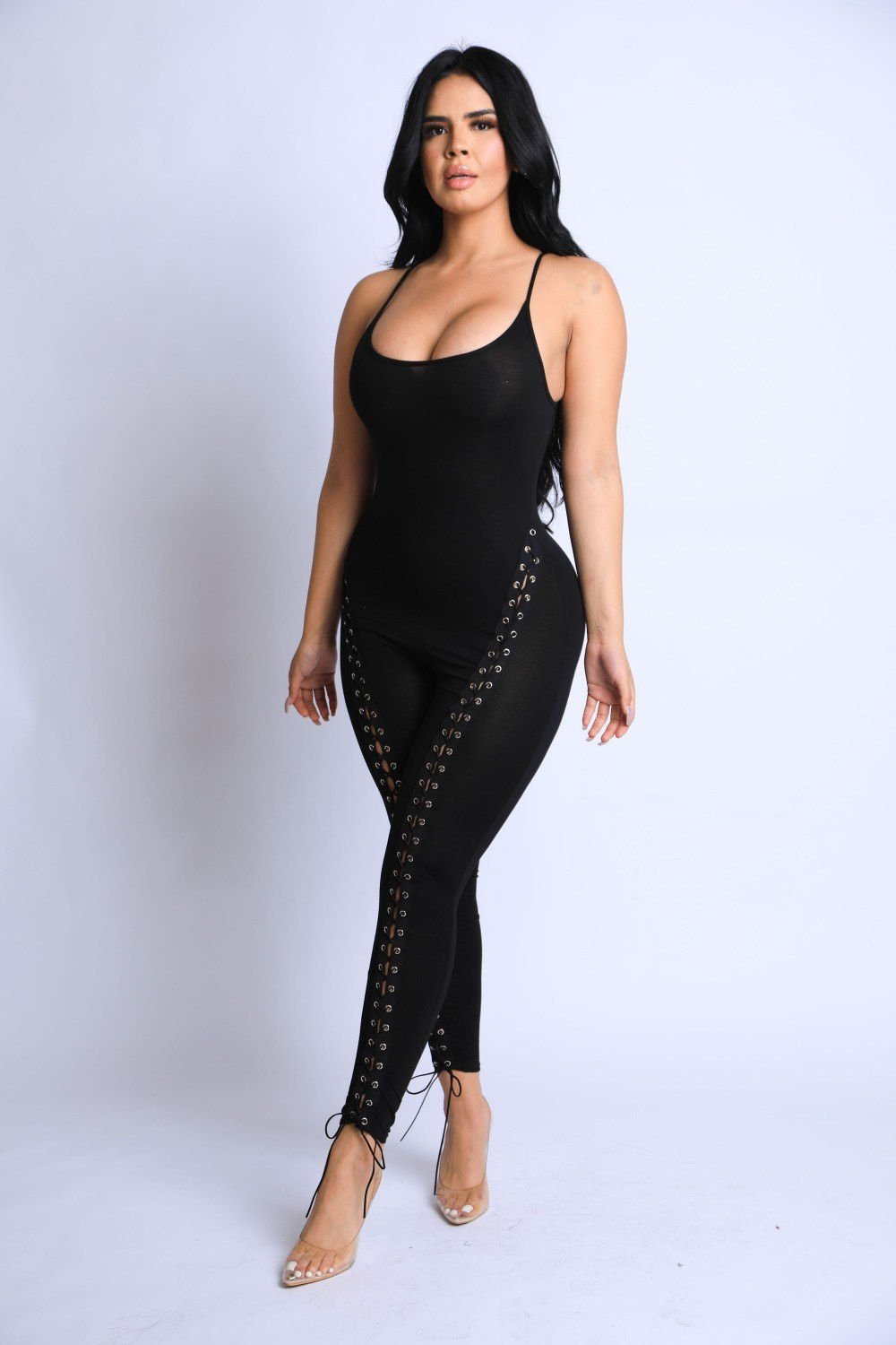 Lace Up Detailed Jumpsuit
