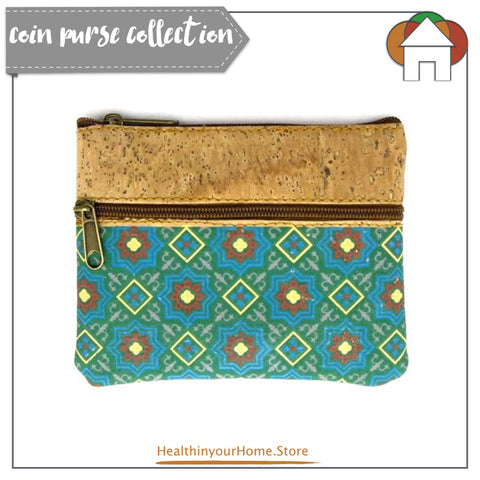 Coin Purse with Blue Diamond Pattern. Vegan & Eco Friendly. Natural Cork