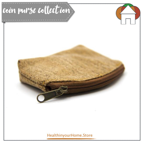 Coin Purse For Women Stripe - Vegan & Eco Friendly. Natural Cork