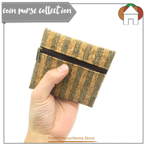 Coin Purse With Front Zip For Women Blue Stripe- Vegan & Eco Friendly. Natural Cork