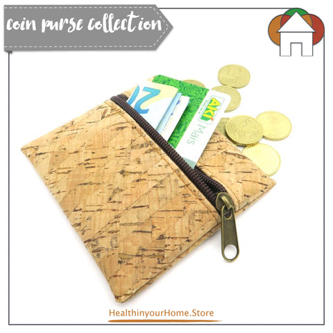 Coin Purse With Front Zip For Women Natural Stripe- Vegan & Eco Friendly. Natural Cork