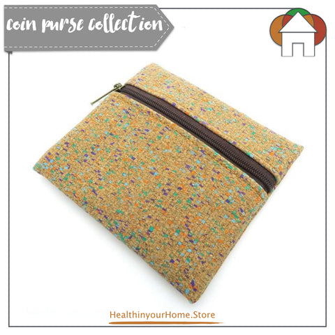 Coin Purse With Front Zip For Women Coloured- Vegan & Eco Friendly. Natural Cork
