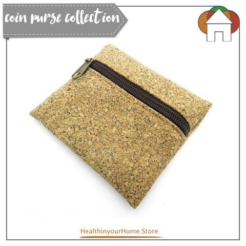 Coin Purse With Front Zip For Women Natural- Vegan & Eco Friendly. Natural Cork