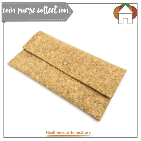 Long Money Holder Purse For Women Natural - Vegan & Eco Friendly. Natural Cork