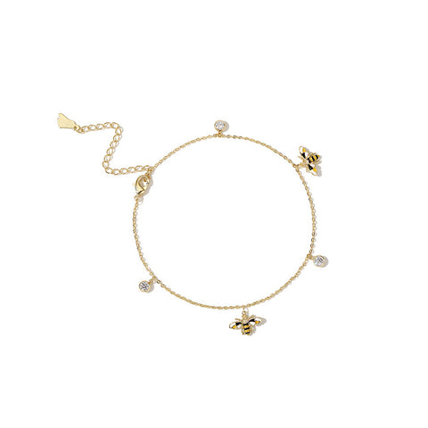 Cute Honey Bee Anklet Gold Plated Jewelry Chic Accessories Gift Women