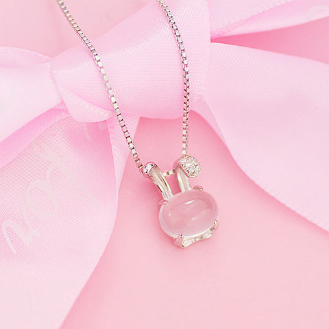 Pink Rose Quartz Bunny Pendant Necklace With Sterling Silver Chain Gift