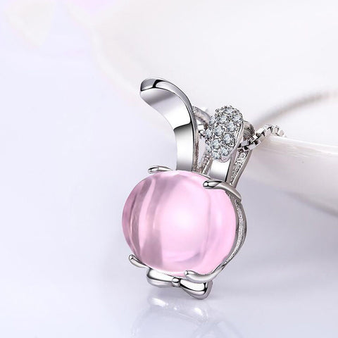 Pink Rose Quartz Bunny Pendant Necklace With Sterling Silver Chain Cute