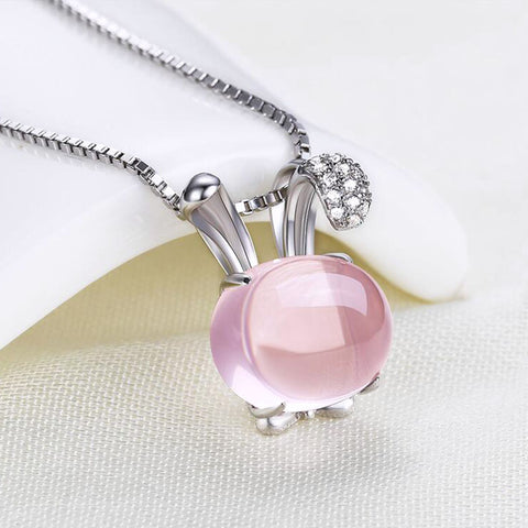 Pink Rose Quartz Bunny Pendant Necklace With Sterling Silver Chain