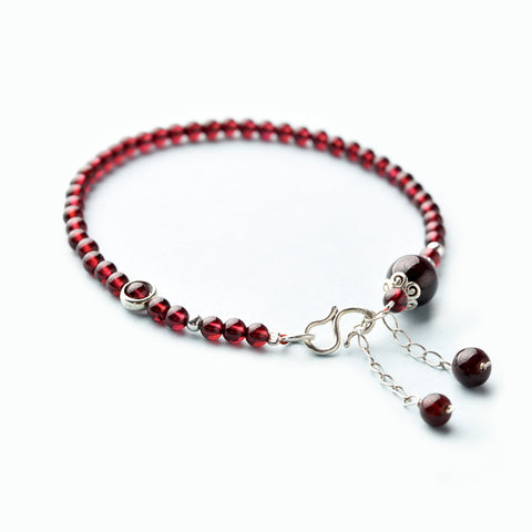 Silver Red Garnet Beaded Anklet Handmade Jewelry Gemstone Accessories Women