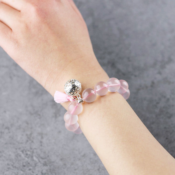Sterling Silver Rose Quartz Crystal Beaded Bracelet Handmade Jewelry Women