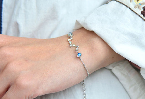 Moonstone Big Dipper Bracelet in White Gold Plated Silver June Birthstone Jewelry Women